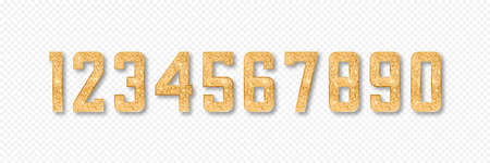 Golden glitter numbers. Set of numbers from 0 to 9 with gold glitter and shadow isolated on transparent background. Vector illustration. 일러스트