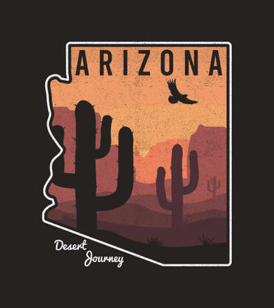 Vintage Arizona t-shirt design with cactus, mountain, eagle and Arizona State map. Typography graphics for tee shirt, retro print with slogan and grunge. Vector illustration.