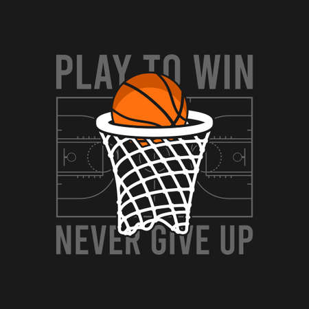 Basketball t-shirt design with basket net and ball, basketball court and slogan. Typography graphics for tee shirt. Sports apparel print. Vector illustration.