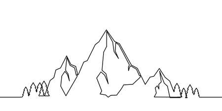 Mountains landscape one line drawing. One continuous line mountain and coniferous trees, hand-drawn illustration. Vector.