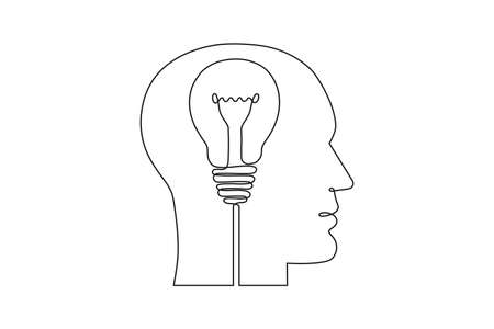 Continuous one line drawing of human head and electric light bulb. Concept of idea emergence. Vector illustration.