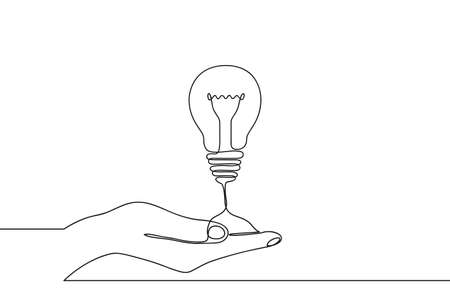 Continuous one line drawing of hand holding electric light bulb at palm arm. Concept of idea emergence or generate and giving business ideas. Vector illustration.