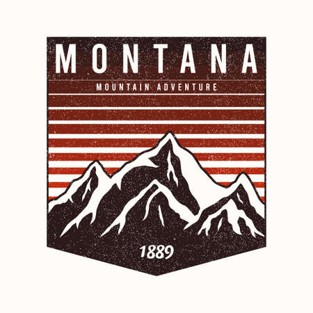 Montana State t-shirt design with mountains and slogan. Typography graphics for tee shirt with grunge. Montana apparel print. Vector.