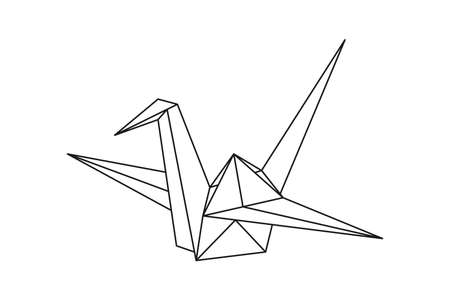 Origami paper crane bird. Geometric line shape for art of folded paper. Japanese origami. Vector illustration. 일러스트