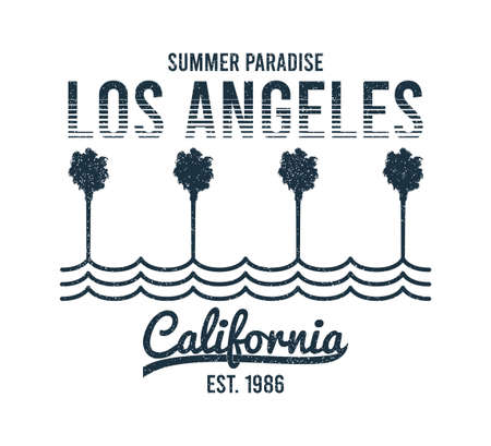 California, Los Angeles t-shirt design with palm trees and waves. Typography graphics for tee shirt with slogan and grunge. California apparel print. Vector illustration. 일러스트