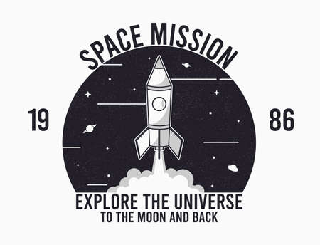 Space design for t-shirt with rocket launch and slogan text. Typography graphics for tee shirt. Apparel print in space theme. Vector illustration. 일러스트