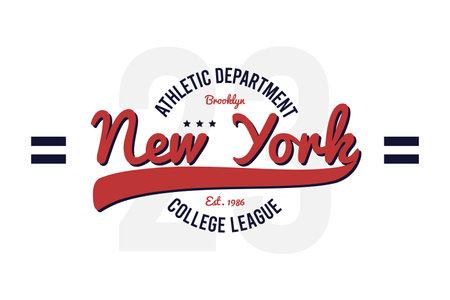 New York, Brooklyn vintage college t-shirt design. Typography graphics for retro varsity tee shirt. Vector.