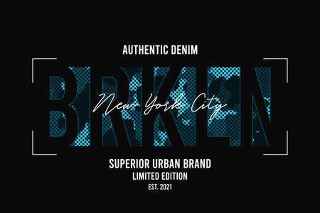 Brooklyn, New York t-shirt design with blue camouflage texture. Tee shirt design with camo and slogan. Typography graphics for apparel. Vector. 일러스트