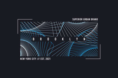 New York, Brooklyn abstract geometric t-shirt. Typography graphics for tee shirt with line geometric print and frame. Vector illustration.