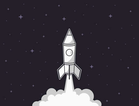 Rocket launch illustration. Business startup concept with spaceship. Vector illustration. 일러스트