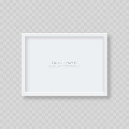 Picture frame mockup. Realistic blank horizontal white picture frame template with shadow isolated on transparent background. Vector illustration.