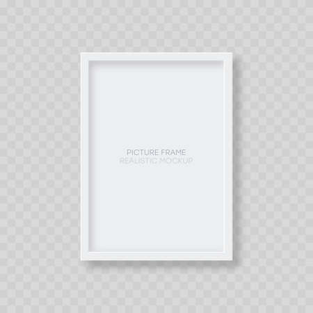 Picture frame mockup. Realistic blank vertical white picture frame template with shadow isolated on transparent background. Vector illustration. 일러스트