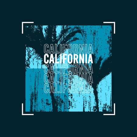 California t-shirt design with palm trees at blue grunge texture. Typography graphics for tee shirt design. Vector illustration. 일러스트