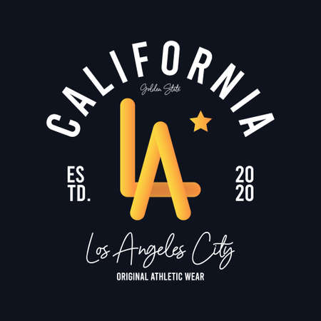 Los Angeles, California t-shirt design with photorealistic volumetric LA letters. Typography graphics for modern athletic tee shirt. Vector illustration.