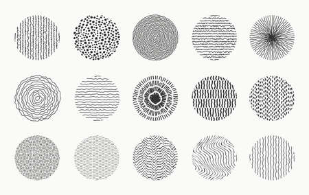 Set of doodle round patterns. Abstract shapes and design elements made by spots, dots, curves and lines. Trendy pattern for poster, social media and other designs. Vector illustration. 일러스트