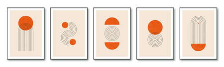 Set of minimalist geometric posters in 20s style design. Contemporary posters template with primitive shapes elements. Modern wall decor in hipster style. Vector.