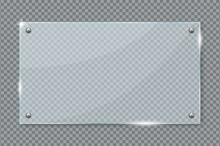 Glass plate hanging on wall isolated transparent background. Acrylic or plexiglass plates with gleams and light reflections in rectangle shape. Vector illustration.