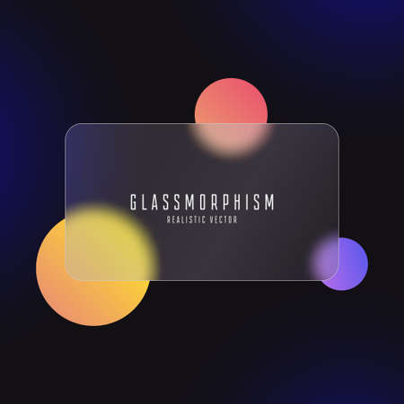 Glassmorphism effect with transparent glass plate on abstract background with moving colored circles. Frosted acrylic or matte plexiglass in rectangle shape. Realistic glass morphism. Vector.