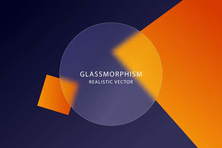 Glassmorphism effect with transparent glass plate on abstract colored background with moving geometric shapes. Frosted acrylic or plexiglass plate in circle shape. Realistic glass morphism. Vector.