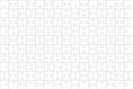 Puzzles grid - blank template. Jigsaw puzzle with 150 pieces. Mosaic background for thinking game is 15x10 size. Game with details. Vector illustration. Illusztráció