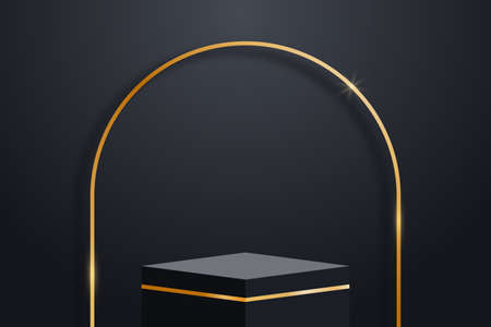 Realistic dark platform with gold decorations and golden arch with shadow. Stage with empty pedestal. 3d podium for product display show or place for presentation. Vector. Illusztráció
