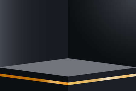 Dark empty room interior design with platform with gold decorations. Blank stand in corner of room. Realistic 3d podium for product display show or place for presentation. Vector. Illusztráció
