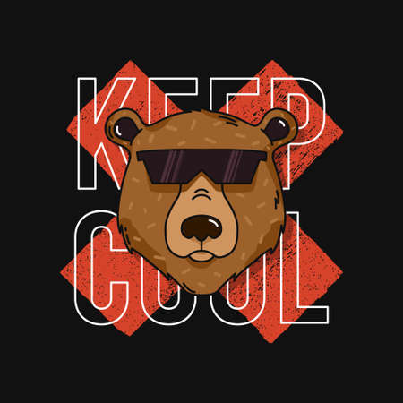T-shirt design with bear in sunglasses and slogan - keep cool. Typography graphics for tee shirt. Vector illustration.