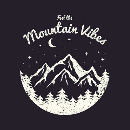 T-shirt design with mountains, forest and night sky. Typography graphics for tee shirt with grunge and slogan. Vintage apparel print. Vector illustration. Illusztráció