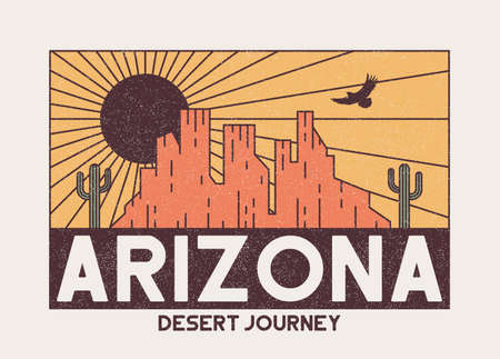 Arizona t-shirt design with rocky mountains, eagle and cactus. Vintage typography graphics for tee shirt with desert illustration. Arizona apparel print with grunge and slogan. Vector.