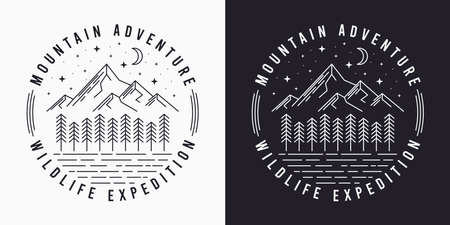 Line style t-shirt design with mountains, trees, night sky and slogan. Typography graphics for tee shirt design. Vintage apparel print. Vector illustration.
