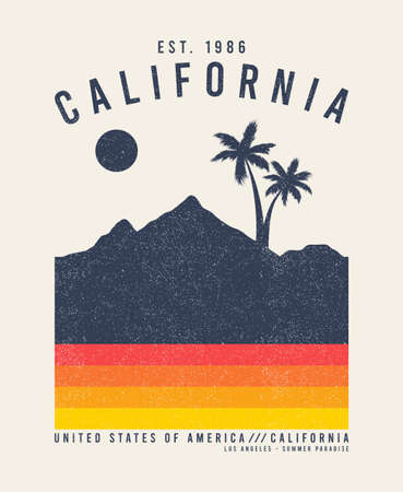 California t-shirt design with palm trees and mountains. Typography graphics for tee shirt with grunge. Vintage apparel print. Vector illustration. Illusztráció