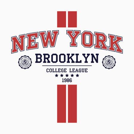 New York, Brooklyn college t-shirt design with vertical stripes. Slogan typography graphics for t-shirt. Vector illustration. Illusztráció