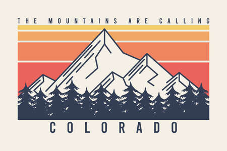 Colorado t-shirt design with mountains and fir trees or forest. Typography graphics for tee shirt with mountain in line style, color stripes, trees and slogan. Apparel print. Vector illustration.