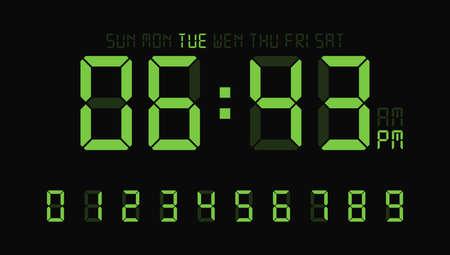 Digital clock number set or calculator electronic numbers. Vector illustration. Illusztráció