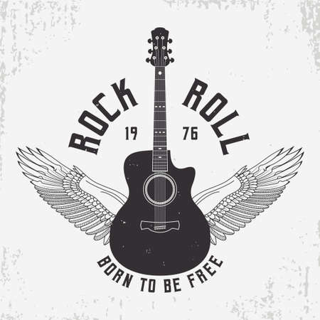 Rock and Roll t-shirt design with guitar and wings. Typography graphics for tee shirt with slogan and grunge. Vintage apparel with rock-n-roll print. Vector illustration. Illusztráció