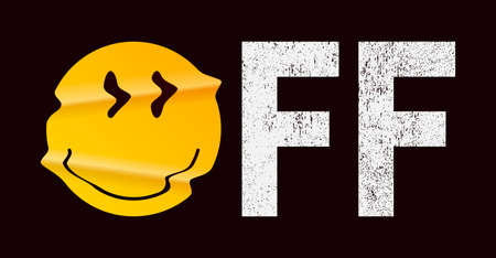 OFF slogan and emoji smile for t-shirt design. Typography graphics with realistic crumpled emoji smile for tee shirt. Apparel print design. Vector illustration.