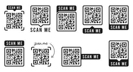 QR code set. Template of frames with text - scan me and QR code for smartphone, mobile app, payment and discounts. Quick Response codes. Vector illustration.