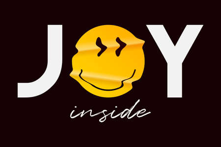 Emoji smile and slogan for t-shirt design. Typography graphics with realistic crumpled emoji smile for tee shirt. Apparel print design. Vector illustration.