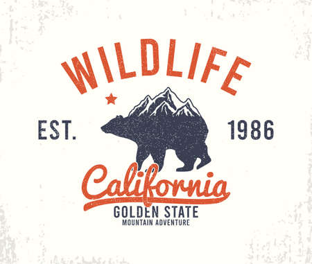 California typography graphics with mountains and bear for t-shirt design. Wildlife - slogan for apparel print, t-shirt design with grunge. Vector illustration.