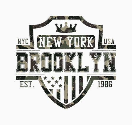 Brooklyn shield design for camouflage t-shirt. New York camo tee shirt print with shield, crown, USA flag and grunge. Typography graphics for apparel in military and army style. Vector illustration.