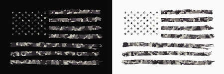 USA flag with camouflage. Set of camo American flag in military style with grunge. Typography graphics for t-shirt and apparel or banner and poster. Vector illustration.