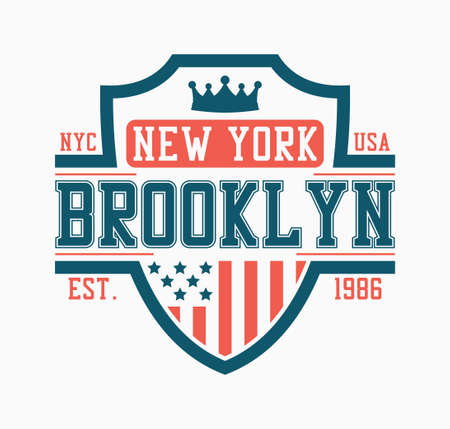 Brooklyn shield design for college t-shirt. New York stylish tee shirt print with shield, crown and USA flag. Typography graphics for apparel. Vector illustration. Illusztráció