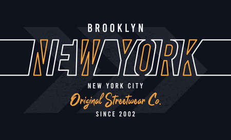 New York, Brooklyn design for t-shirt. Stylish tee shirt print with line style colorful text. Typography graphics for apparel. Vector illustration.