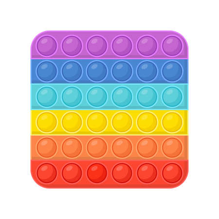 Pop it - antistress toy. Hand toy of square shapes in rainbow color with rubber push bubbles. Pop it fidgets. Vector illustration.