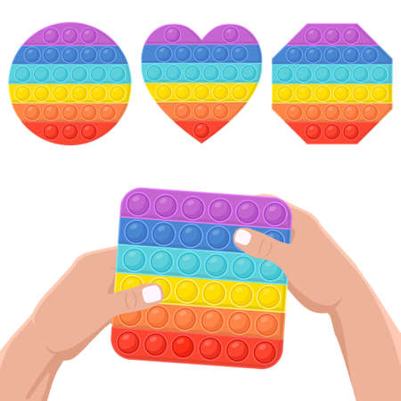 Set of different anti-stress toys. hands holding of square shape. Hand toy in rainbow color with rubber push bubbles. Vector illustration.