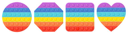 Set of pop it - antistress toy. Hand toy of different shapes in rainbow color with rubber push bubbles. Pop it fidgets. Vector illustration.