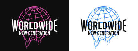 Worldwide - slogan for t-shirt design with Earth globe that melts. Typography graphics for tee shirt with dripping World globe. Apparel print design. Vector illustration. Illusztráció