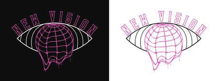 New Vision slogan for t-shirt design. Earth globe that melts and eye illustration for tee shirt typography graphics. Apparel print. Vector. Illusztráció