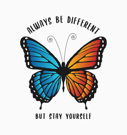 Butterfly print with colorful wings and slogan text for t-shirt design. Typography graphics for girls tee shirt with butterfly. Vector illustration.