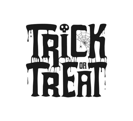 Trick or Treat banner with dripping text, spiderweb and spider, skull for Halloween holiday design. Vector illustration. Illusztráció